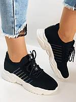 Летние женские кеды-кроссовки черные. Вязанный текстиль с сеткой. Размер 36.37.38.39., фото 3