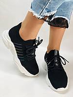 Летние женские кеды-кроссовки черные. Вязанный текстиль с сеткой. Размер 36.37.38.39., фото 7