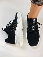 Летние женские кеды-кроссовки черные. Вязанный текстиль с сеткой. Размер 36.37.38.39., фото 5