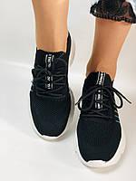 Летние женские кеды-кроссовки черные. Вязанный текстиль с сеткой. Размер 36.37.38.39., фото 6