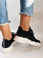 Летние женские кеды-кроссовки черные. Вязанный текстиль с сеткой. Размер 36.37.38.39., фото 4