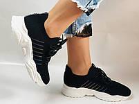 Летние женские кеды-кроссовки черные. Вязанный текстиль с сеткой. Размер 36.37.38.39., фото 8