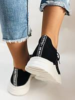 Летние женские кеды-кроссовки черные. Вязанный текстиль с сеткой. Размер 36.37.38.39., фото 9