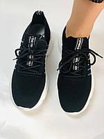 Летние женские кеды-кроссовки черные. Вязанный текстиль с сеткой. Размер 36.37.38.39., фото 10