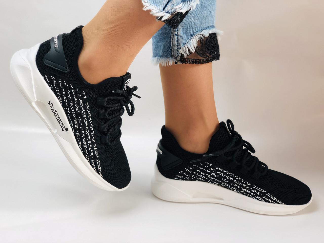 Lonza. Стильные женские кеды-кроссовки черный.Вязанный текстиль с сеткой. Размер 36.37.38.39.40