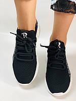 Lonza. Стильные женские кеды-кроссовки черный.Вязанный текстиль с сеткой. Размер 36.37.38.39.40, фото 7
