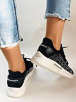 Lonza. Стильные женские кеды-кроссовки черный.Вязанный текстиль с сеткой. Размер 36.37.38.39.40, фото 3
