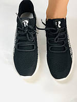 Lonza. Стильные женские кеды-кроссовки черный.Вязанный текстиль с сеткой. Размер 36.37.38.39.40, фото 8