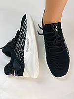 Lonza. Стильные женские кеды-кроссовки черный.Вязанный текстиль с сеткой. Размер 36.37.38.39.40, фото 4