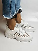 Стильные женские кеды-кроссовки белые. Вязанный текстиль с сеткой. Размер 36.37.38.39.40, фото 3
