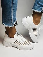 Стильные женские кеды-кроссовки белые. Вязанный текстиль с сеткой. Размер 36.37.38.39.40, фото 2