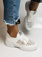 Стильные женские кеды-кроссовки белые. Вязанный текстиль с сеткой. Размер 36.37.38.39.40, фото 8