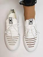 Стильные женские кеды-кроссовки белые. Вязанный текстиль с сеткой. Размер 36.37.38.39.40, фото 10