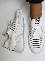 Стильные женские кеды-кроссовки белые. Вязанный текстиль с сеткой. Размер 36.37.38.39.40, фото 7