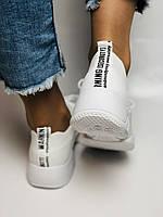 Стильные женские кеды-кроссовки белые. Вязанный текстиль с сеткой. Размер 36.37.38.39.40, фото 5