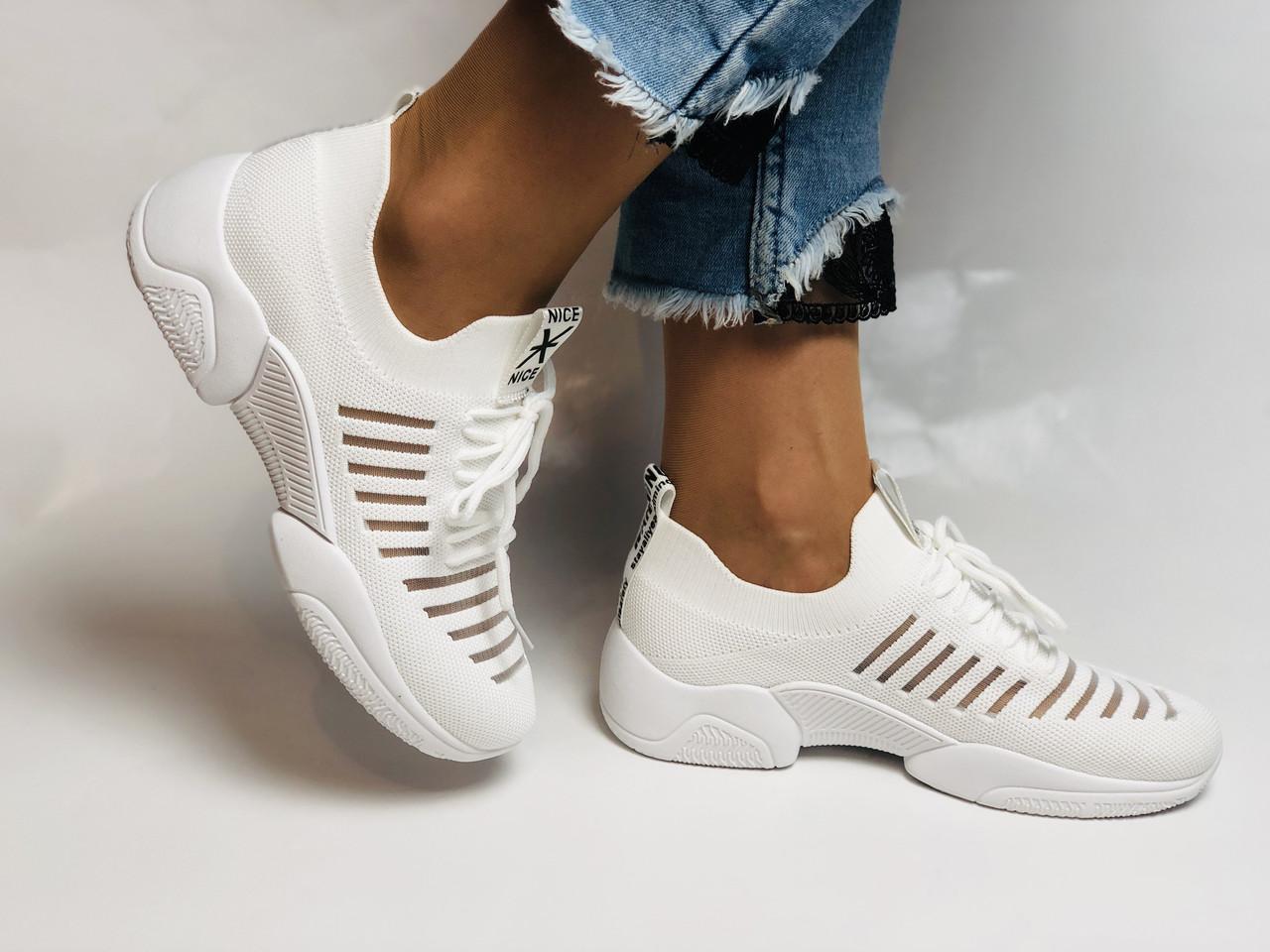 Стильные женские кеды-кроссовки белые. Вязанный текстиль с сеткой. Размер 36.37.38.39.40