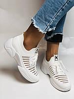 Стильные женские кеды-кроссовки белые. Вязанный текстиль с сеткой. Размер 36.37.38.39.40, фото 4