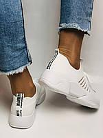 Стильные женские кеды-кроссовки белые. Вязанный текстиль с сеткой. Размер 36.37.38.39.40, фото 6