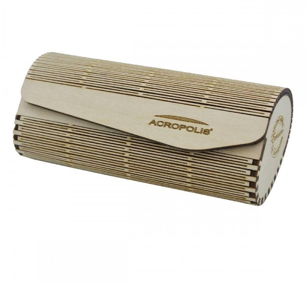 Горизонтальный футляр для солнцезащитных очков ручной работы из напластованной древесины