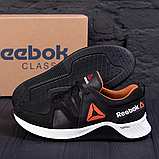 Чоловічі чорні шкіряні кросівки reebok з білою підошвою, фото 2