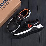 Чоловічі чорні шкіряні кросівки reebok з білою підошвою, фото 3