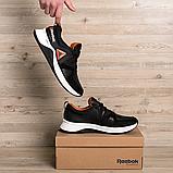 Чоловічі чорні шкіряні кросівки reebok з білою підошвою, фото 4