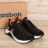 Чоловічі чорні шкіряні кросівки reebok з білою підошвою, фото 5