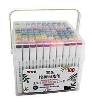 Набор двухсторонних фломастеров/скетч макеров  100 шт/цветов  AIHAO PM-508-100 Sketch marker