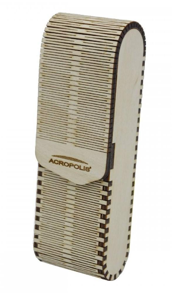 Вертикальный футляр для очков ручной работы из напластованной древесины