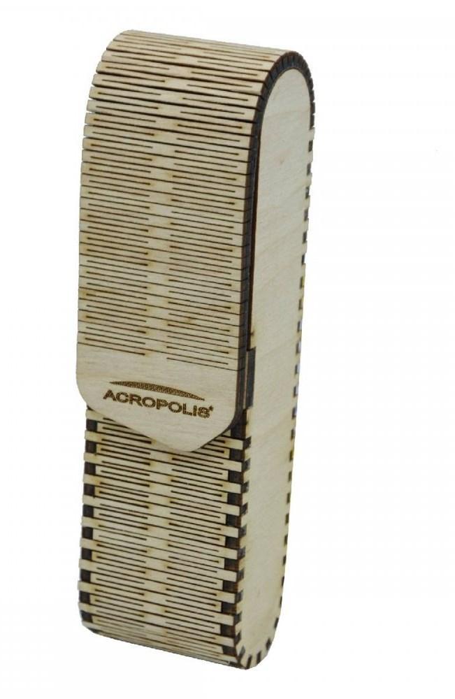 Вертикальний футляр для окулярів ручної роботи з нашарованої деревини