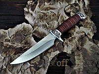 Охотничий нож с деревянной ручкой и чехлом 26 см