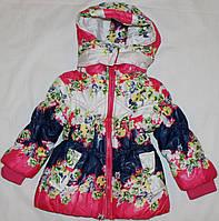 Куртка детская весна-осень с цветочным принтом 1-4 года Малина