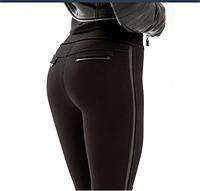 Женские леггинсы лосины, сбоку вставки из эко-кожи, размер Норма S , М, фото 1