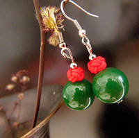 Серьги Зеленые и стерлинговое серебро, фото 1