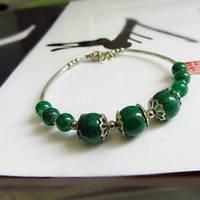 Браслет Зеленый бисер 18см