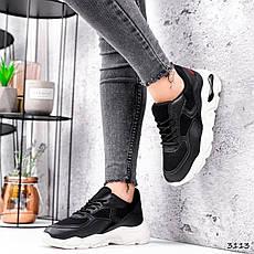 Кросівки жіночі чорні на білій підошві з еко шкіри та текстилю. Кросівки спортивні зі вставками текстилю, фото 3