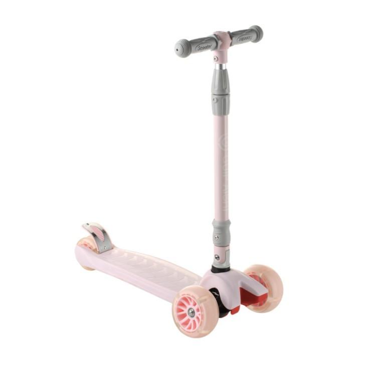Самокат 4-х колесный Scooter 999 для детей от 3 лет cо складным рулем и светящимися PU колесами, розовый
