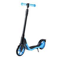 Самокат з PU колесами iTrike 112 для дітей від 5 років двоколісний чорний з блакитним