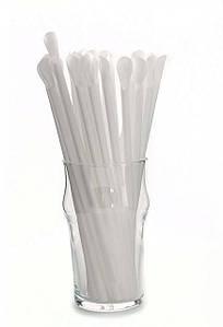 Трубочка для коктейля с лопаткой, белая 6 × 200 мм