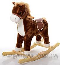 Дитяча конячка качалка MP 0080 зі звуковими ефектами (Коричневий)