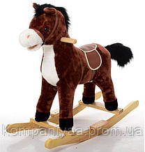 Дитяча конячка качалка MP 0080 зі звуковими ефектами (Темно-коричневий)