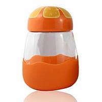 Кружка из стекла в силиконвой защите с крышкой Fruits апельсин SKL11-203630