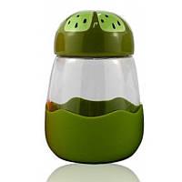 Кружка из стекла в силиконвой защите с крышкой Fruits киви SKL11-203678