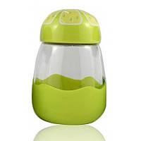 Кружка из стекла в силиконвой защите с крышкой Fruits лайм SKL11-203679