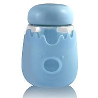 Кружка из стекла с крышкой в силиконовой защите Sweet Feeling голубая SKL11-203633