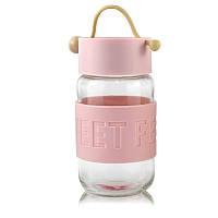 Кружка из стекла с силиконовой крышкой Sweet Feeling розовая SKL11-203697