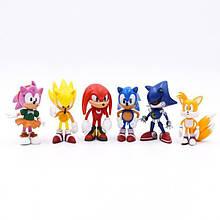 Набор фигурок Классический Ёжик Супер Соник, 6в1, 7 см - Classic Sonic the Hedgehog
