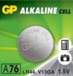 Батарейка GP Alkaine Cell A76, LR44, 1.5 V, 1 шт.
