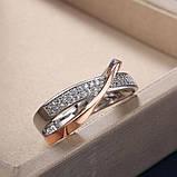 Женское золотистое кольцо с фианитами код 2036, фото 5