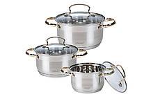 Набор посуды нержавеющий Maestro - 2 х 3 х 4 л (3 шт.) MR-3516-6M
